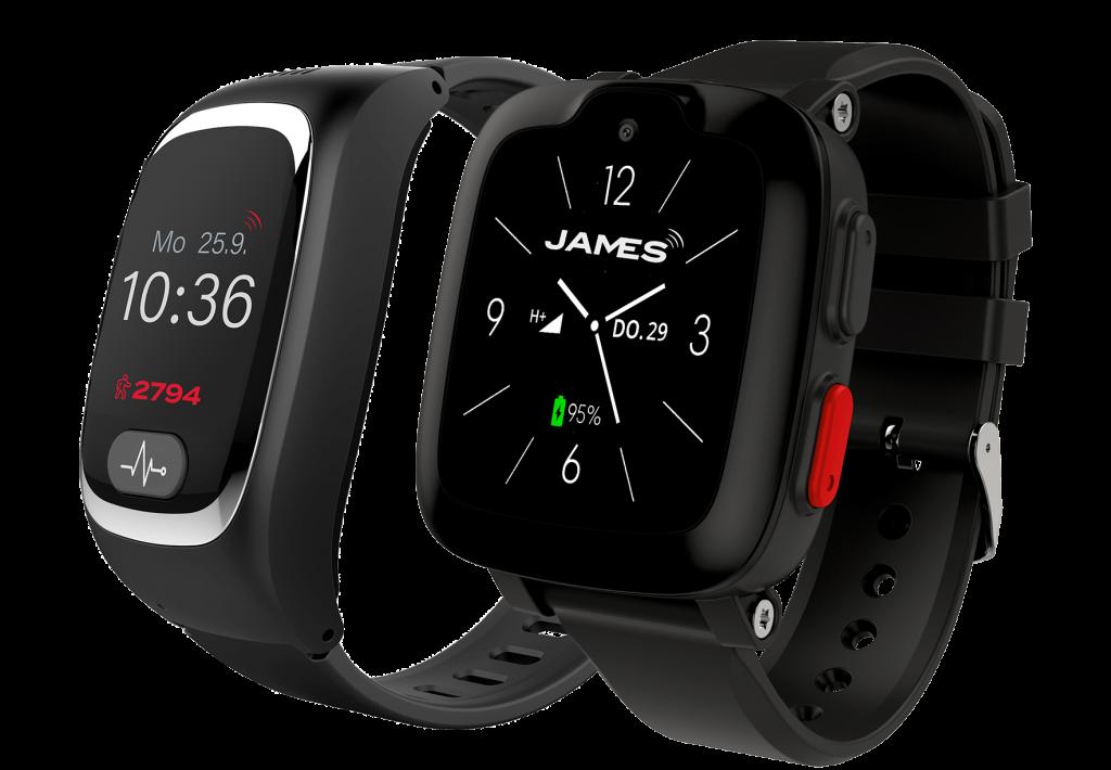 Die JAMES Notrufuhren B6 und S6. ermöglichen Sicherheit mit dem mobilen Hausnotruf.