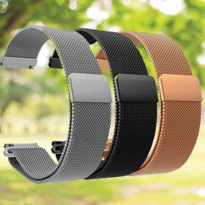 Produktbild Edelstahl-Uhrenband in Silber, Schwarz und Roségold.