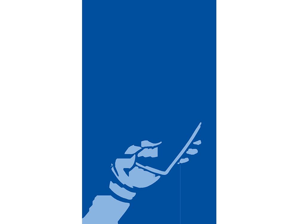 Illustration Hand mit Smartphone-Apps