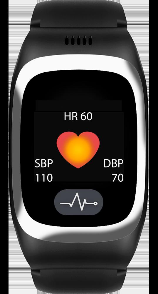JAMES Notrufuhr B6 in Schwarz mit erfassten Puls- und Blutdruckdaten