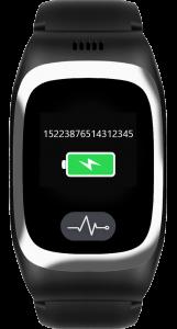 JAMES Notrufuhr B6 in Schwarz mit grüner Batterieanzeige und eingeblendeter IMEI-Nummer