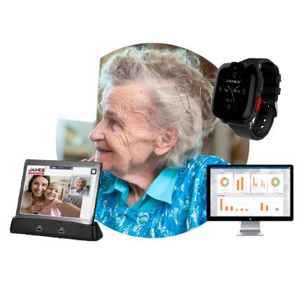 Irmgard mit dem JAMES Tablet und der Notrufuhr S6