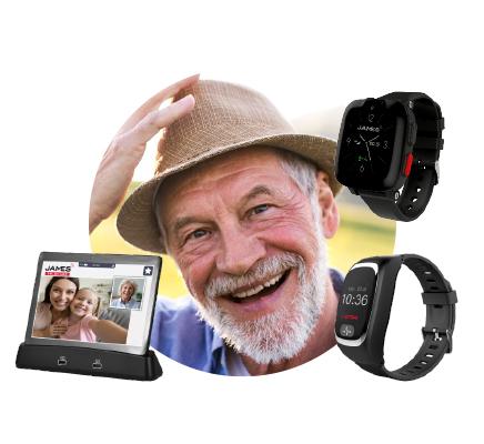 Peter Kern mit der JAMES Notrufuhr S6 / B6 und dem Tablet